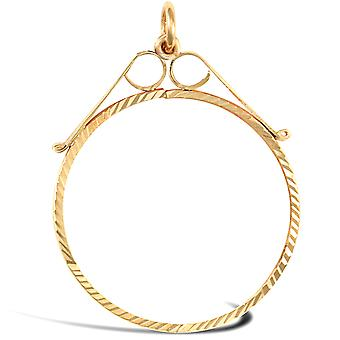 Jewelco London 9ct Yellow Gold Diamond Cut Scroll Top Lightweight Full Sovereign Coin Mount Pendant