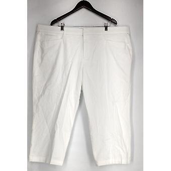 JM Collection Stretchy Waistband Tummy Control Capri Pants White