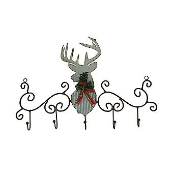 Metal Art Scroll Rustic Deer z sosnowym i łukowym stojakiem na haki ścienne