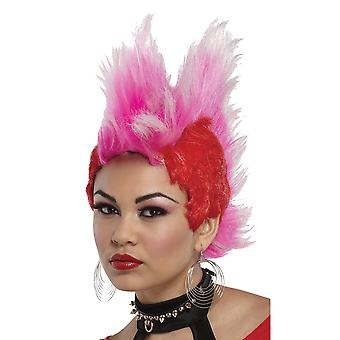سبايك الموهوك مزدوج أحمر وردي السبعينات الثمانينات الروك الشرير Mohican شعر مستعار زي المرأة