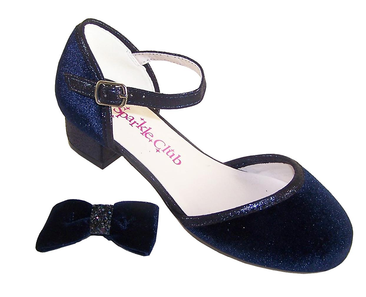 Girls dark blue velvet sparkly low heeled party shoes