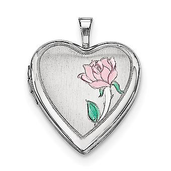 925 Sterling Silver Satin Back Engravable Holds 2 photos Polished and satin 20mm Enameled Flower Love Heart Locket Jewel