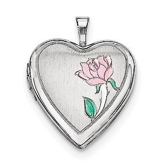 925 סטרלינג כסף סאטן בחזרה Engravable מחזיק 2 תמונות מלוטש סאטן 20mm Enameled פרח אהבה לב תליון תכשיט