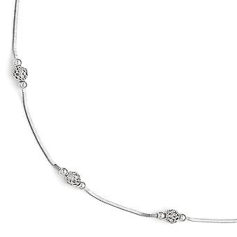 925 Sterling Silver Polished and Textured Beaded Anklet With 1inch Ext 9 Inch Jewelry Gifts for Women