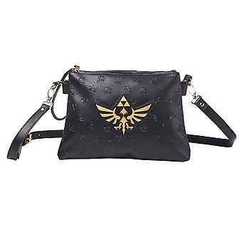 Zelda Handbag Gold Print Hyrule Logo All over print new Official Nintendo Black