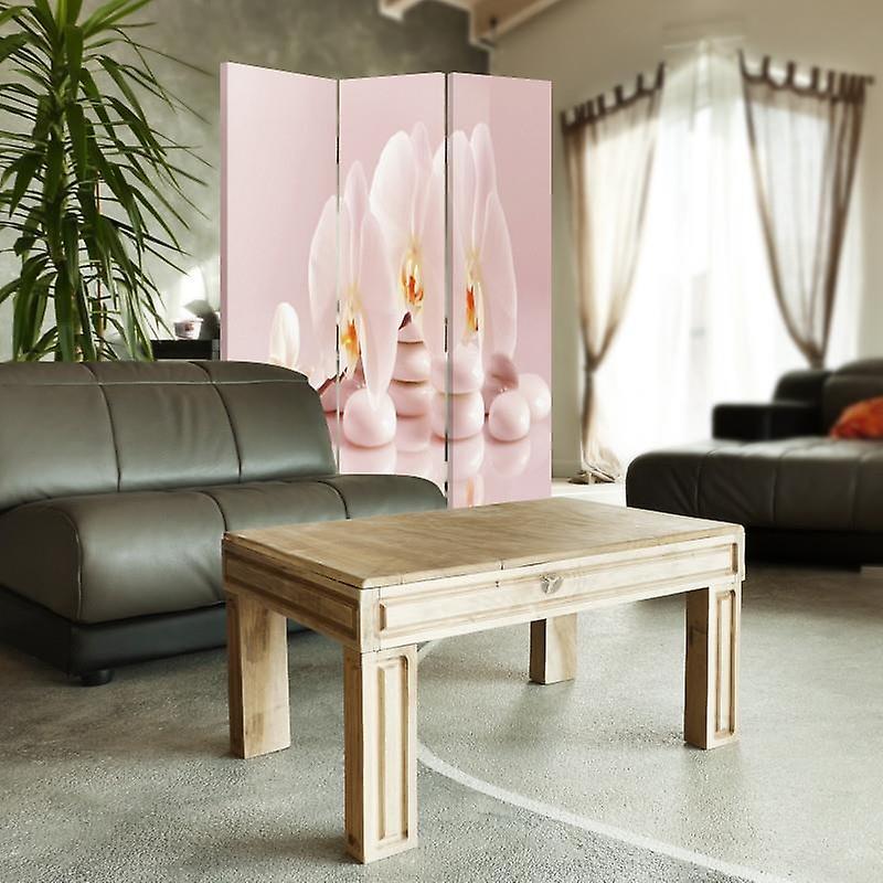Diviseur de chambre, 3 panneaux, à un seul côté, toile, orchidées zen