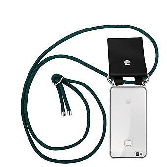Caja de la cadena del teléfono Cadorabo para la cubierta de la caja Huawei P9 LITE - cubierta de la capa del collar de silicona con anillos de plata - cable de la banda del cordón y funda protectora de la caja extraíble