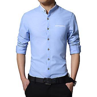 Allthemen الرجال & apos;ق سليم القطن مزيج الأعمال عارضة قميص طويل الأكمام 5 ألوان