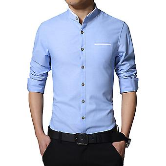 Allthemen Men's Slim Cotton Blend Business Casual Long Sleeve Shirt 5 Colors