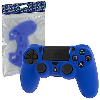 Soft silicone rubber skin grip cover for sony ps4 controller with ribbed handle - blue