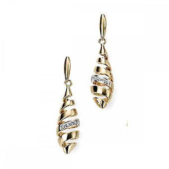Elements Gold Elements 9ct Yellow Gold Spiral Drop Earrings With Diamonds GE2018