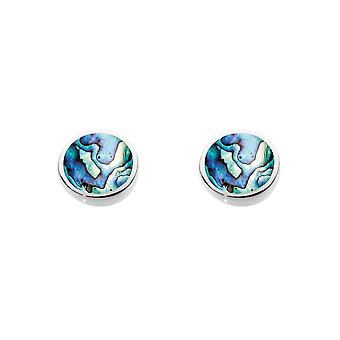 Dew Sterling Silver Round Paua Shell Stud Earrings 3060PA014