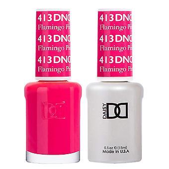 Dnd Duo Gel & Nail Polish Set - Flamingo Pink 413 - 2x15ml