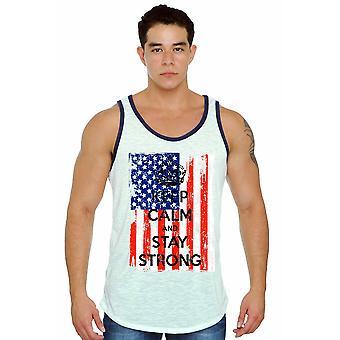 Men's Tank Top USA Flag Keep Calm & Stay Strong Shirt