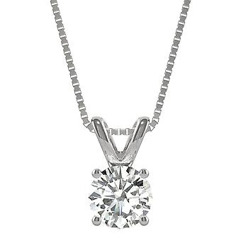 14K White Gold Moissanite by Charles & Colvard Round Solitaire Pendant, 1.00ct DEW