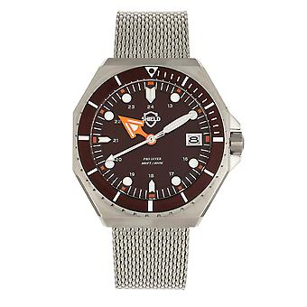 Shield Marius Bracelet Men's Diver Watch w/Date - Silver/Brown