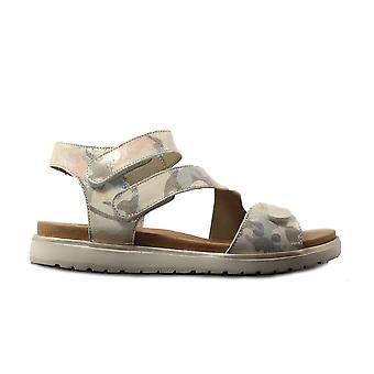 Remonte D4057-90 White Multi Coloured Army Print Leather Womens Rip Tape Sandals