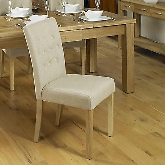 Oak Flare Back Upholstered Dining Chair - Biscuit (Pack of Two) - Baumhaus