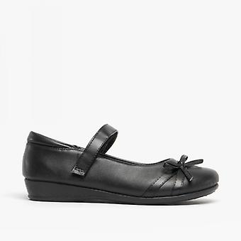 Amerikaanse Brass Drizzle meisjes Bow Touch vastgemaakt Bar schoenen zwart