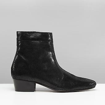 Club Cubano Caesar Mens Leather Cuban Heel Boots Snake Black