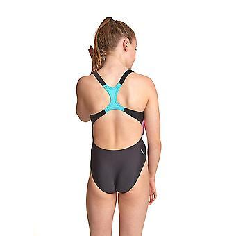 Zoggs Palms Girl ' s rowleeback baddräkt i svart/multi full front lining