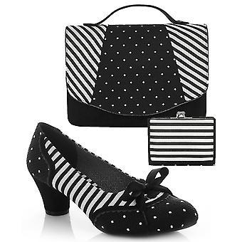 Ruby Shoo naisten ' s musta raita Ophelia kenttä kenkä pumput & matching Belfast Bag & Como kukkaro UK 4 EU 37