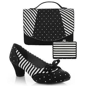 Ruby shoo kvinnor ' s svart rand Ophelia domstol sko pumpar & matchande Belfast väska & Como Purse UK 4 EU 37