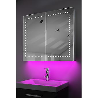 Demist Cabinet With LED Under Lighting, Sensor & Internal Shaver k365w