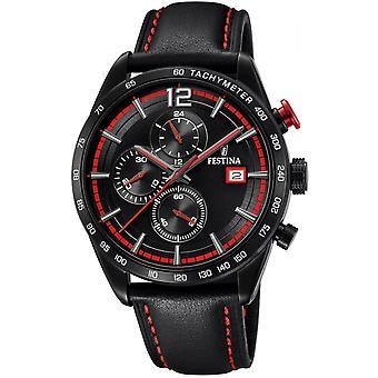 Armbanduhr Festina Uhren CHRONO SPORT F20344-5 - Chronograph Leder schwarz Mann beobachten