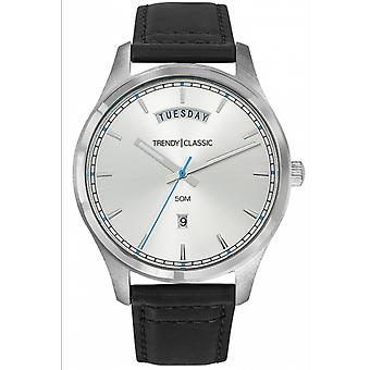 Shows Trendy Classic CC1043-01 - Bo tier steel man White Dial black leather