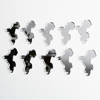 Stehende Bichon Frise Mini Handwerk Größe Acryl Spiegel (10Pk)