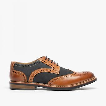 Roamers Arnold Mens Couro / nubuck Brogue Oxford Shoe Dark Tan / marinha