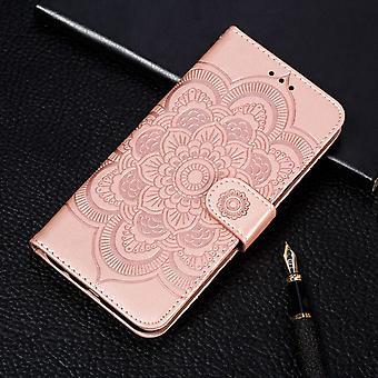 Mandala Emboss Pattern Folio Skórzany futerał na iPhone 11 Pro, Holder, Gniazda kart, portfel, ramka do zdjęć, Lanyar, różowe złoto