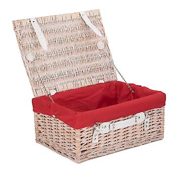 Wicker 41cm White Hamper with Red Lining