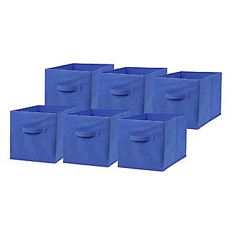 6 x Blue Large Foldable Square Canvas Storage Box Collapsible Fabric Cubes Kids Home