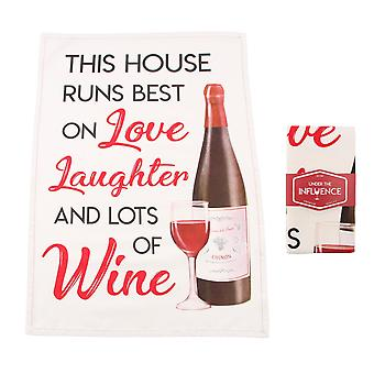 CGB Giftware This House Runs Best On Love Wine Tea Towel