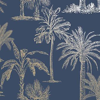 Árvores tropicais brilhantes Papel de Parede Marinha / Ouro Holden 12821
