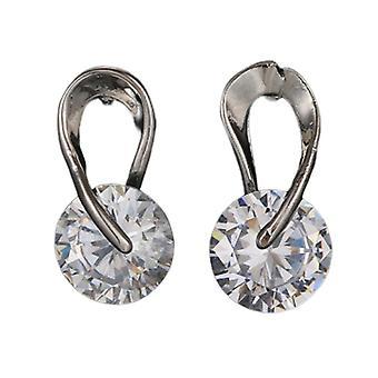 Twisted Hook Crystal Stud Earrings - Silver