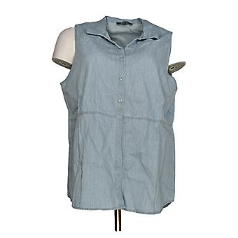 Kelly by Clinton Kelly Women's Top Button Front Sleeveless Blue A279082