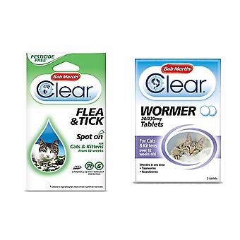 Bob Martin Flea Clear Spot On Protection for Cats & Wormer Tablets