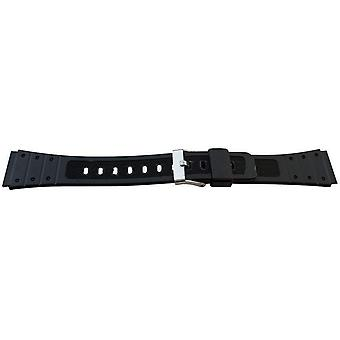 Black resin watch strap 19mm (22mm overall width) stainless steel buckle