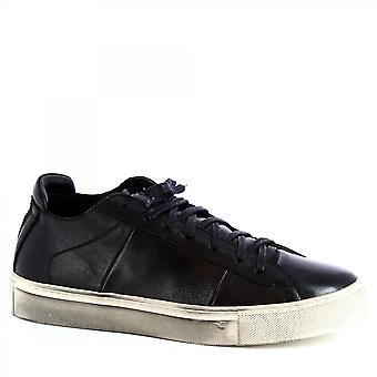 Leonardo Shoes Men's handmade casual lace-ups shoes in black napa leather