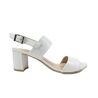 Caprice 28302 White Leather Womens Heeled Slingback Sandals