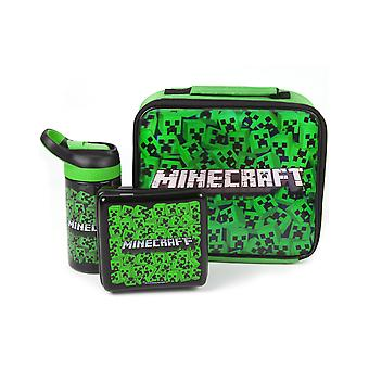 Minecraft Lunch Bag Set Creeper (Lunch Box, Water Bottle, Snack Pot)