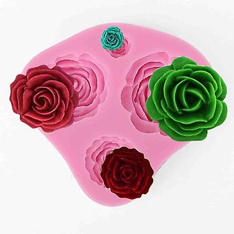4-hole 3d Rose Silicone Cutter Marzipan Fondant Cakes Wedding