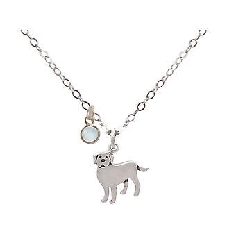 Labrador Golden Retriever Cão Chalcedon colar 925 prata, banhado a ouro, rosa