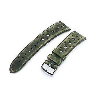 Strapcode الجلود ووتش حزام 20mm أو 22mm miltat الايطالية المصنوعة يدويا متسابق خمر حزام الساعة الخضراء الخضراء، ل. خياطة البني