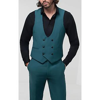 Avail London Mens Teal Waistcoat Skinny Fit Double Breasted