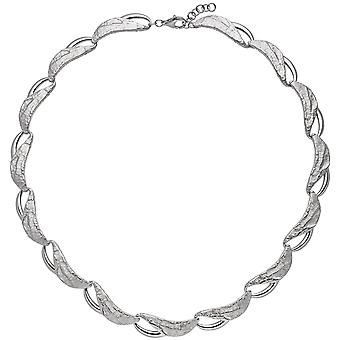 Damen Collier Halskette 925 Sterling Silber teilgehämmert 50 cm Kette Silberkette