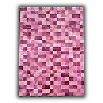 Rugs -Patchwork Leather Cubed Cowhide - Multi tones pink